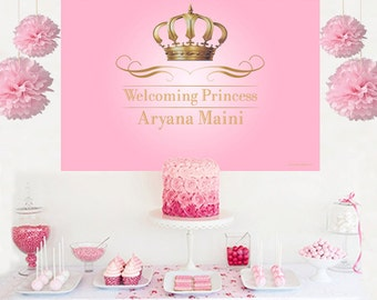 Royal Princess Personalized Backdrop - Pink Birthday Cake Table Backdrop- Princess Backdrop, Royal Baby Shower Backdrop, Birthday Backdrop
