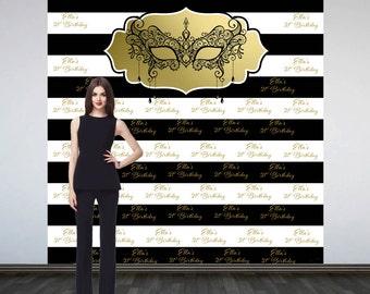 Masquerade Elegance Personalized Photo Backdrop -Mask Photo Backdrop- 21st Birthday Step and RepeatBackdrop, Printed Photo Booth Backdrop