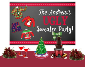 Ugly Christmas Sweater Party Personalize Backdrop - Holiday Cake Table Backdrop - Christmas Photo Backdrop, Holiday Party Backdrop
