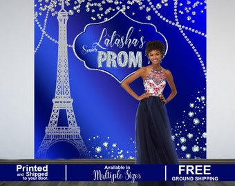 Prom Send Off Personalized Photo Backdrop, Prom 2K19 Photo Backdrop, Paris Effiel Tower Photo Backdrop, Photo Booth Backdrop, Senior Prom