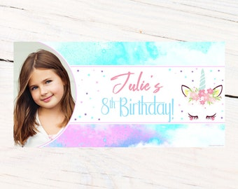 Fantasy Unicorn Photo Banner ~ Personalized Party Banner ~ Unicorn Birthday Banner, Printed Birthday Banner, Vinyl Birthday Banner