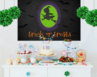 Halloween Personalized Backdrop -Little Witch Cake Table Backdrop - Trick or Treat Backdrop, Holiday Party Backdrop, Halloween Backdrop
