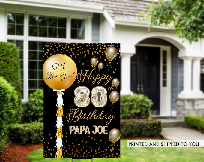 Featured listing image: Birthday Yard Sign | Quarantine Birthday Sign | Birthday Yard Sign | 80th Birthday Signs | 60th Birthday Yard Sign, Happy Birthday Lawn Sign