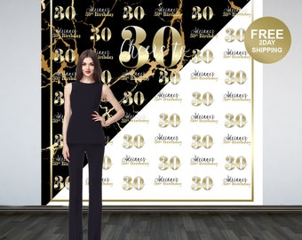 Marble Elegance Photo Backdrop | Gold Photo Backdrop | 30th Birthday Photo Backdrop | 16th Birthday Photo Booth Backdrop | Birthday Backdrop