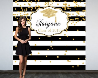 Graduation Personalized Photo Backdrop,Black and White Stripes Photo Backdrop, Class of 2018 Photo Backdrop, Photo Booth Backdrop