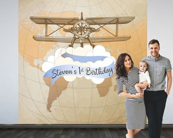 Vintage Airplane Party Personalized Photo Backdrop - 1st Birthday Airplane Photo Backdrop- Welcome to this World Photo Backdrop