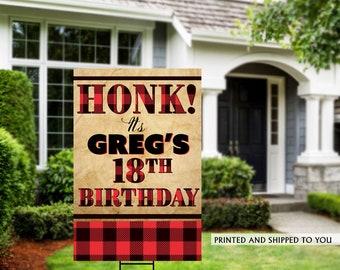Honk Birthday Yard Sign | Quarantine Birthday | Birthday Yard Sign | 13th Birthday Yard Sign | Happy Birthday Sign | Buffalo Plad Sign