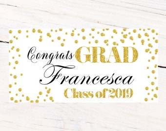 Class of 2019 Graduation Photo Banner ~ Congrats Grad Personalized Party Banners -School Colors Graduation, Grad Banner White and Gold