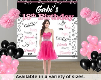 18th Birthday Personalized Photo Backdrop - Happy Birthday Photo Backdrop - 21st Birthday Party Photo Backdrop, 15th Birthday Backdrop