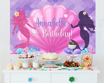 Mermaid Sea Splash Party Backdrop - Birthday Cake Table Backdrop - Party Photo Backdrop, Purple Mermaid Backdrop, Printed Vinyl Backdrop