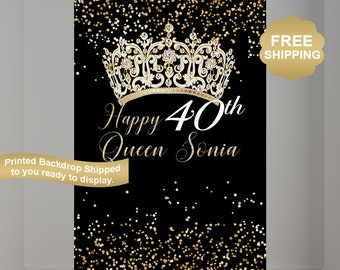 40th Birthday Personalized Photo Backdrop, Birthday Photo Backdrop, Birthday Queen Backdrop, Photo Booth Printed Backdrop, Princess Backdrop