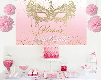 Masquerade Glimmer Personalized Backdrop - Sweet Sixteen Cake Table Backdrop - Masquerade Mask Birthday Backdrop, Printed Backdrop, Sweet 16
