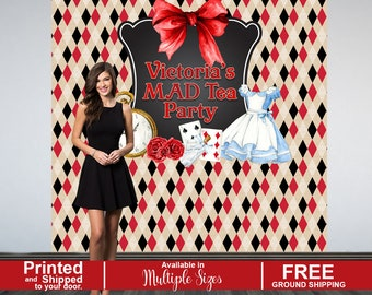 Mad Tea Personalized Photo Backdrop | Birthday Party Photo Backdrop | Alice in Wonderland Party Photo Backdrop | Sweet Sixteen Birthday