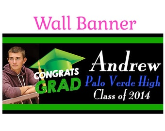 Graduation Photo Banner ~ Personalize Party Banners Indoor or Outdoor Class of 2015 Green School Colors