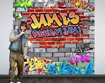 Graffiti Brick Party Personalized Photo Backdrop -90's Photo Backdrop- Hip Hop Birthday Photo Backdrop - Custom Backdrop
