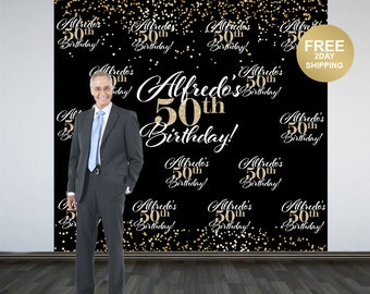 50th Birthday Photo Backdrop | Black and Gold Sparkle Photo Booth Backdrop | Birthday Backdrop | 40th Birthday Backdrop | Printed Backdrop