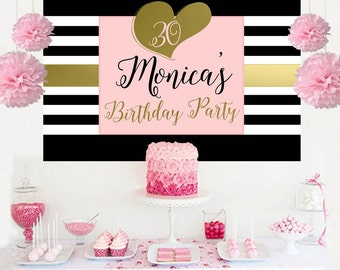 Birthday Backdrop - 30th Birthday Cake Table Backdrop - 40th Birthday Backdrop, 50th Birthday Backdrop, Photo Backdrop, Printed