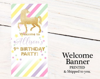 Unicorn Birthday Door Banner ~ Personalized Magical Unicorn Party Banner, Welcome to the Party Banner,  Printed Birthday Banner