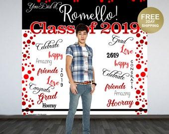 Graduation Photo Backdrop | Congrats Grad Personalized Photo Backdrop |  Class of 2019 Photo Backdrop |  Printed Backdrop | Red and Black