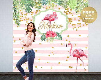 Pink Flamingo Party Photo Backdrop | Flamingo Photo Backdrop | Summer Birthday Party Backdrop | Tropical Birthday Backdrop, Printed Backdrop