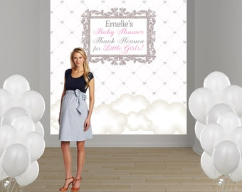 Thank Heaven Personalized Photo Backdrop - Baby Shower Photo Backdrop-  Clouds Photo Backdrop - First Birthday Backdrop - Sprinkle Backdrop