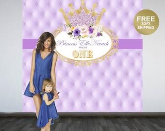 Princess Personalized Photo Backdrop | Ryal Princess Photo Backdrop | Birthday Photo Backdrop - 1st Birthday Backdrop | Printed Backdrop