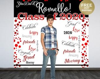 Graduation Photo Backdrop | Congrats Grad Personalized Photo Backdrop |  Class of 2020 Photo Backdrop |  Printed Backdrop | Red and Black