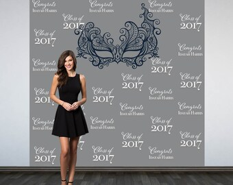 Graduation Personalized Photo Backdrop, Masquerade Ball Backdrop, Birthday Photo Backdrop, Masquerade Mask Photo Booth Backdrop, Sweet 16th