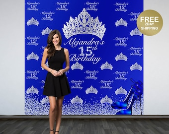 Royal Princess Personalized Photo Backdrop | 15th Birthday Backdrop | Diamonds & Heels Photo Backdrop | 16th Birthday Backdrop | Printed