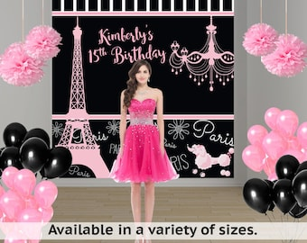 Paris Love Personalized Photo Backdrop -Birthday Party Photo Backdrop- Sweet 16th Large Photo Backdrop, Effiel Tower Backdrop