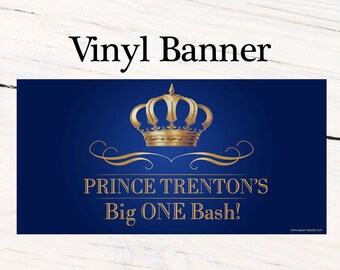 Prince Birthday Banner ~ Personalized Happy Birthday Crown Birthday, Royal Baby Shower Banner, Printed Vinyl Banner - Welcome Prince Banner