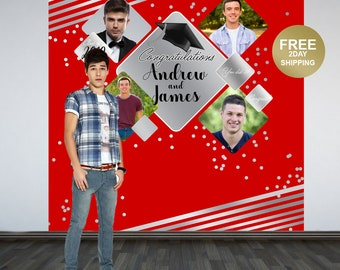 Graduation Photo Backdrop | Personalized Photo Backdrop | Class of 2019 Photo Backdrop | Congrats Grad Photo Backdrop | Silver and Red
