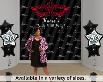 Feisty & 50 Birthday Personalized Photo Backdrop - Masquerade Mask Photo Backdrop- Birthday Backdrop -Step and Repeat Banner - 50th Birthday