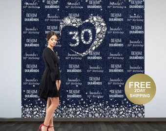 Denim & Diamonds Photo Backdrops, 30th BIrthday Party Backdrop, Party Photo Backdrops, Step and Repeat Backdrop, Printed Vinyl Backdrop