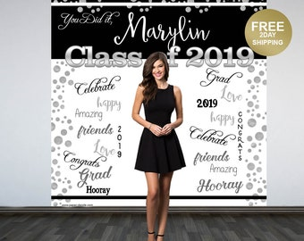 Graduation Photo Backdrop | Congrats Grad Personalized Photo Backdrop | Class of 2019 Backdrop | Photo Booth Backdrop | Printed Backdrop