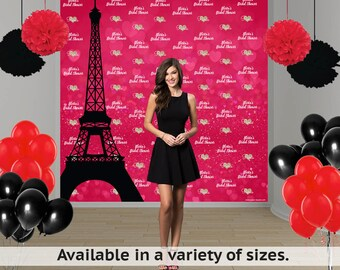 Paris Love Birthday Personalized Photo Backdrop - 16th Birthday Photo Backdrop- Photo Booth  Backdrop -Custom Backdrop -Step and Repeat