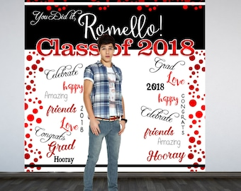 Graduation Photo Backdrop - Congrats Grad Personalized Photo Backdrop- Class of 2019 Photo Backdrop- Red Photo Booth Printed Backdrop