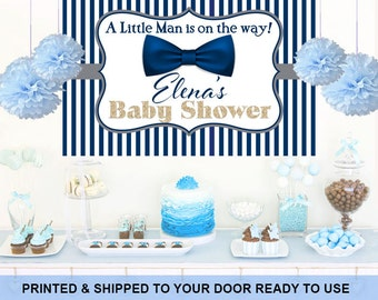 Little Man Personalized Backdrop - Baby Shower Cake Table Backdrop Birthday-  Blue Bow Tie Backdrop