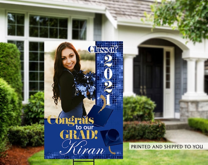 Featured listing image: Class of 2021 Graduation Photo Yard Sign - High School Senior Welcome Sign - Welcome Sign Congrats, Grad Lawn Sign, Graduation Yard Sign