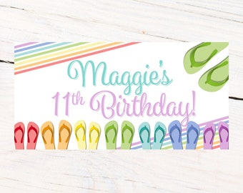 Flip Flop Birthday Photo Banner ~ Personalized Party Banners Pool Party ~ Swimming Party Banner, Summer Birthday Banner, Custom Banner