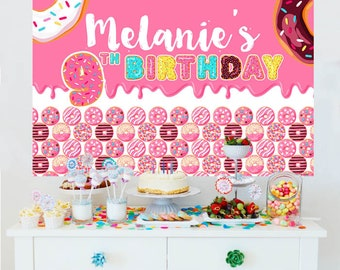 Donut Party Backdrop - Birthday Cake Table Backdrop - Party Photo Backdrop, Donuts Photo Backdrop, Printed Vinyl Backdrop, Donut Grow Up