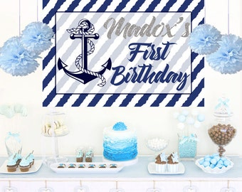 Nautical Birthday Personalized Backdrop, Anchor Birthday Cake Table Backdrop, 1st Birthday Backdrop, Photo Backdrop, Nautical Backdrop