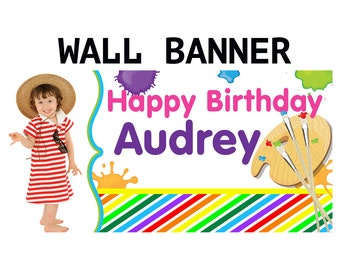 Painting Party Banner ~ Personalized Party Banners, Birthday Party Banner, Photo Painters Pallet Banner, Custom Banners, Printed Banner