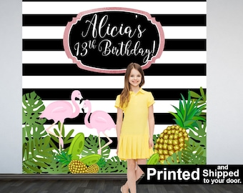 Tropical Party Personalized Photo Backdrop -Flamingo Photo Backdrop- Summer Sparkle Birthday Party Backdrop - Pineapple Birthday Backdrop