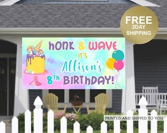 Birthday Yard Banner | Personalized Birthday Banner | HONK and Wave Birthday Banner | Quarantine Birthday Banner, Birthday Lawn Banner