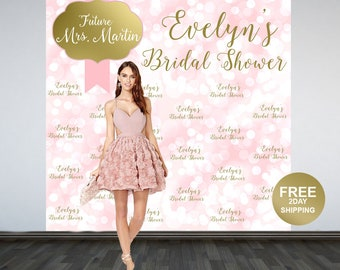 Bridal Shower Sparkle Personalized Photo Backdrop -Wedding Shower Party Photo Backdrop- Printed Photo Backdrop -Step and Repeat Backdrop