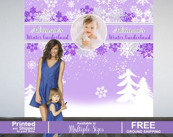 Winter Wonderland Personalized Photo Backdrop | Snow Flakes Party Photo Backdrop | Baby it's Cold Outside Party Photo Backdrop | Purple