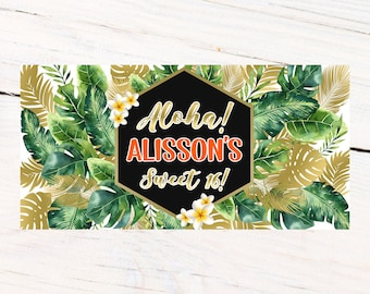 Aloha Party Banner | Personalized Birthday Banner | Printed Vinyl Banner | Custom Banner | Summer Pool Party Banner |  Sweet 16 Banner