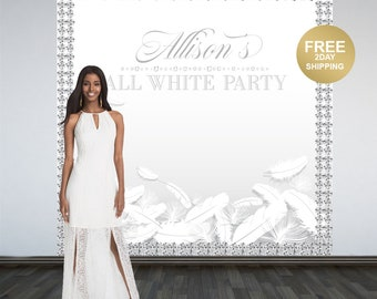 All White Party Photo Backdrops | Sweet 16 Birthday Party Backdrop | Personalized Backdrop | White Diamonds Backdrop | Birthday Backdrop