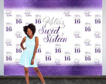 Sweet 16 Personalized Photo Backdrop -Purple 16th Birthday Photo Backdrop- Step and Repeat Photo Backdrop, Silver Sweet 16 Photo Backdrop